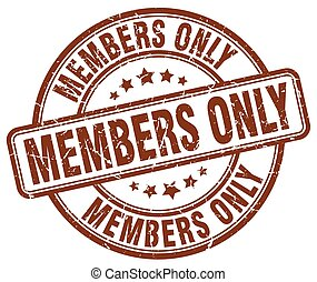 members only brown grunge round vintage rubber stamp