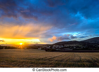 sunset above Conero national park hills, Italy - Scenic view...