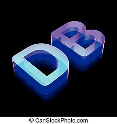 3d neon glowing character DB made of glass, vector...