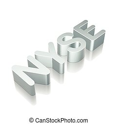 3d metallic character NYSE with reflection, vector...