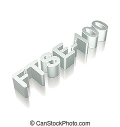 3d metallic character FTSE-100 with reflection, vector...