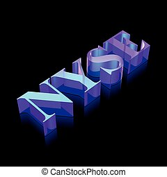 3d neon glowing character NYSE made of glass, vector...