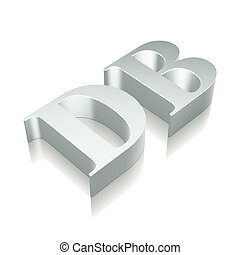 3d metallic character DB with reflection, vector...