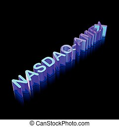 3d neon glowing character NASDAQ-AMEX made of glass, vector...