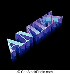 3d neon glowing character AMEX made of glass, vector...