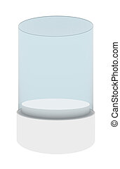 Empty glass showcase for exhibition, 3d rendering