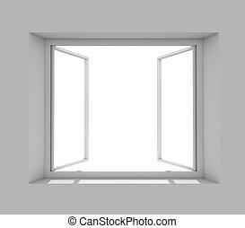 Open window on grey wall