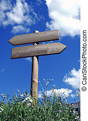 Wooden sign for walkers - Wooden sign indicative of...