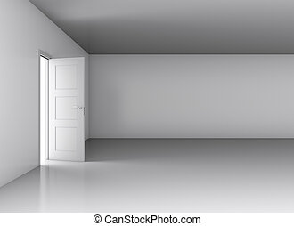 Light in empty room through opened door