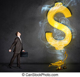 Dollar sign appearing from magic lamp. Businessman with...
