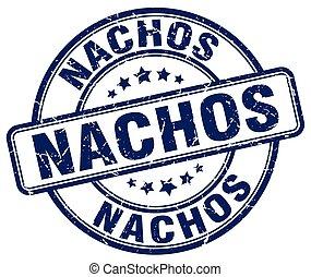 nachos blue grunge round vintage rubber stamp