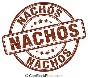 nachos brown grunge round vintage rubber stamp
