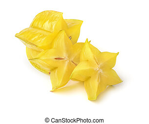 Carambola - Sliced carambola fruit isolated on white