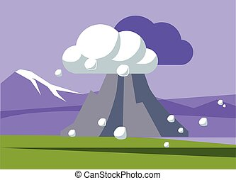 Volcano Erupting In Iceland Flat Bright Color Simplified...