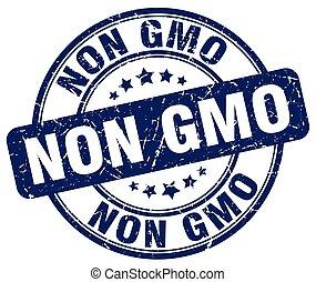 non gmo blue grunge round vintage rubber stamp