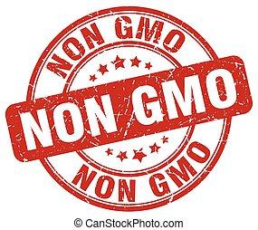 non gmo red grunge round vintage rubber stamp