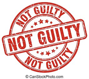 not guilty red grunge round vintage rubber stamp