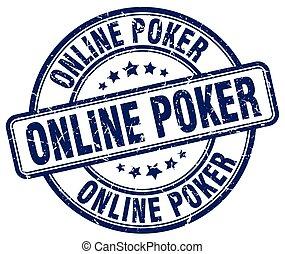 online poker blue grunge round vintage rubber stamp
