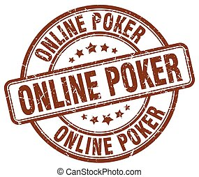 online poker brown grunge round vintage rubber stamp