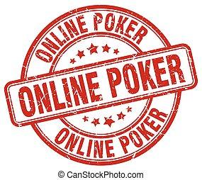 online poker red grunge round vintage rubber stamp