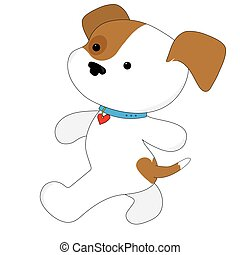 Cute Puppy Walker - A brown and white cute puppy with a...