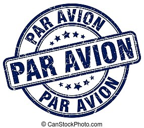 par avion blue grunge round vintage rubber stamp