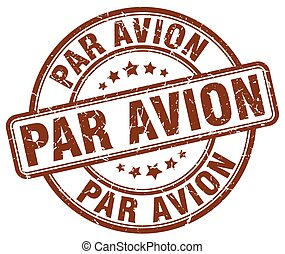 par avion brown grunge round vintage rubber stamp