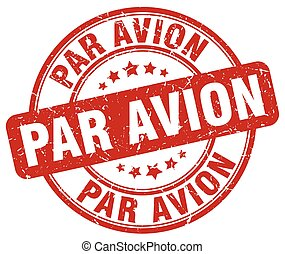 par avion red grunge round vintage rubber stamp