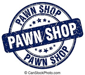 pawn shop blue grunge round vintage rubber stamp