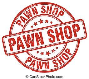pawn shop red grunge round vintage rubber stamp