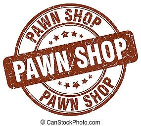 pawn shop brown grunge round vintage rubber stamp