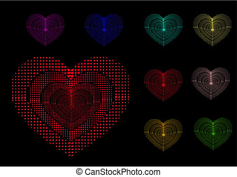Multi-coloured hearts on black background