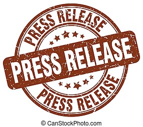 press release brown grunge round vintage rubber stamp