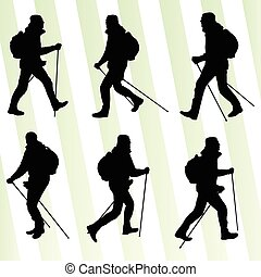 Man hiking adventure nordic walking with poles vector illustration