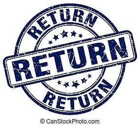 return blue grunge round vintage rubber stamp