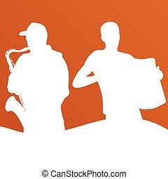 ジャズ, 音楽, バンド, ベクトル, 背景,