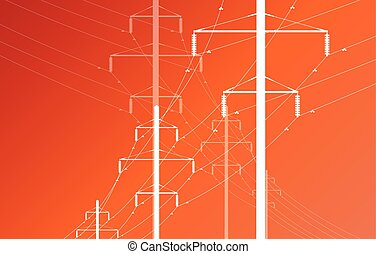 High voltage power line grid vector background