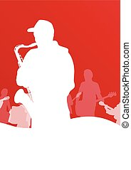 Jazz music band vector background illustration