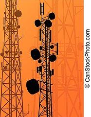 Communication transmission tower radio signal phone antenna...