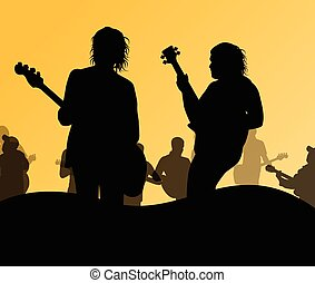 Guitarist band on stage vector background