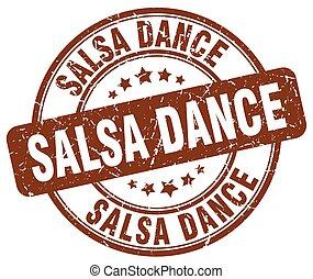 salsa dance brown grunge round vintage rubber stamp