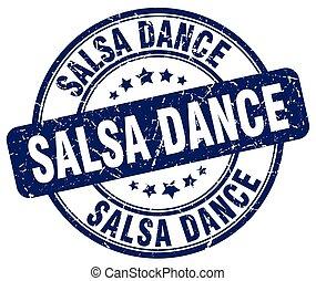 salsa dance blue grunge round vintage rubber stamp