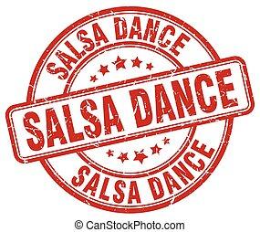 salsa dance red grunge round vintage rubber stamp