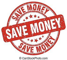 save money red grunge round vintage rubber stamp