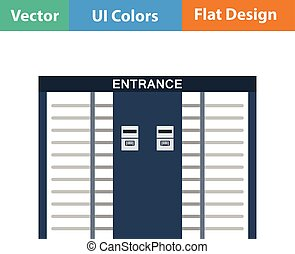 Stadium entrance turnstile icon. Flat design in ui colors....