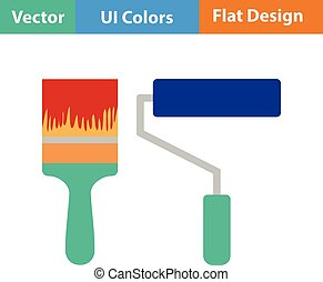 Flat design icon of construction paint brushes in ui colors....
