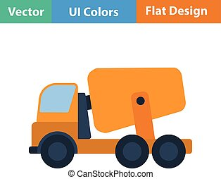 Flat design icon of Concrete mixer truck in ui colors Vector...