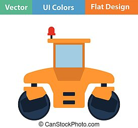 Flat design icon of road roller in ui colors Vector...