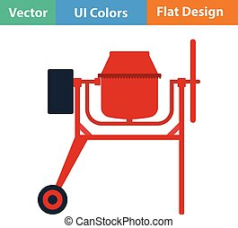 Flat design icon of Concrete mixer in ui colors. Vector...