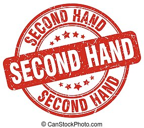 second hand red grunge round vintage rubber stamp